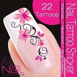 Nail Tattoo Sticker Blossom / Ornament - pink / black