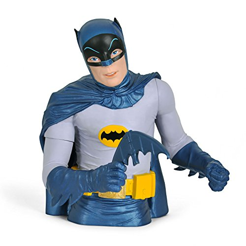 Salvadanaio a busto a forma di Batman 1966 in stile retrò, serie da collezione di supereroi DC Comics, materiale plastico, 20,3cm, licenza ufficiale, blu e grigio