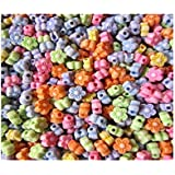 100 Acrylic Resin Pretty Flower Beads 6mm Colour Mix