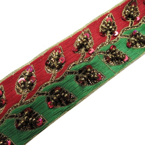 Hand Beaded Ribbon Trim Red Green Sequin Craft 1 Yard