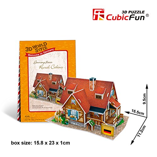 "Cubicfun Cubic Fun 3d Puzzle Model 37pcs Germany Flavor Rural Cabins 6.5"" - 1"