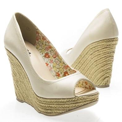 Soda Women's PORAH Open Toe Braided Contract Stitching High Heel Platform Wedge Pump Sandal Shoes, Off White Beige PU Leather, 10 B (M) US