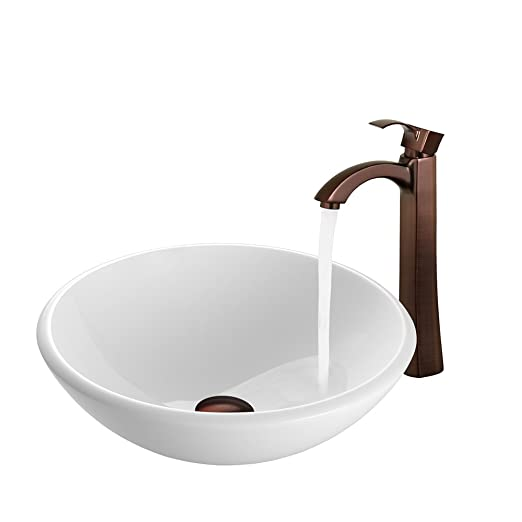 VIGO White Phoenix Stone Vessel Sink and Otis Vessel Faucet with Pop Up, Oil Rubbed Bronze