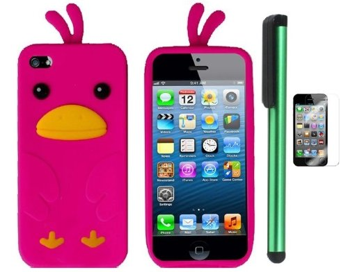 =>>  Hot Pink Funny Duck Silicone Skin Premium Design Protector Soft Cover Case Compatible for Apple Iphone 5 (AT&T, VERIZON, SPRINT) + Screen Protector Film + Combination 1 of New Metal Stylus Touch Screen Pen (4