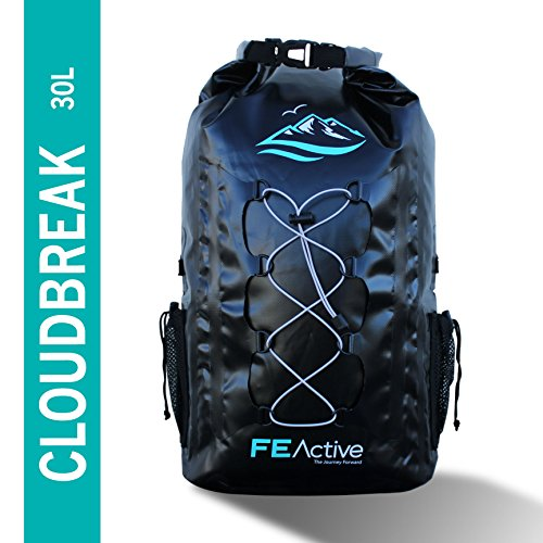 FE-Active-30L-Eco-Friendly-Waterproof-Dry-Bag-Backpack-Great-for-all-Outdoor-and-Water-related-activities-Padded-Shoulder-Straps-Corded-Exterior-and-Mesh-Netting-for-Increased-Carrying-Capacity