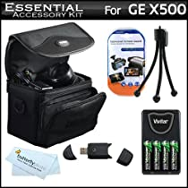 Essential Accessories Kit For GE POWER Pro series X500, X5 Power Pro Digital Camera Includes USB 2.0 High Speed Card Reader + 4AA High Capacity Rechargeable NIMH Batteries And AC/DC Rapid Charger + Deluxe Carrying Case + LCD Screen Protectors + More