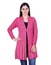 eWools Women's Woolen Shrug (Darshana-316_Pink White_Large)
