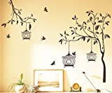 StickersKart Wall Stickers Tree with Birds and Cages (Brown, 140cm x 110cm)-7127