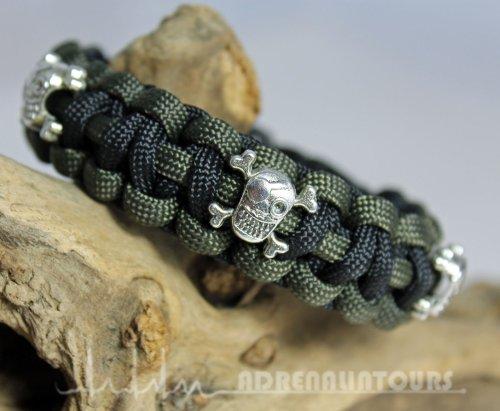 para-cord-braccialetto-550-ying-yang-pirates-teschio-skull-bone-di-colore-verde-oliva-nero-taglia-l