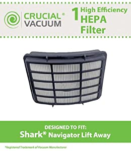 Shark HEPA Filter Designed To Fit Shark Navigator Lift-Away NV350, NV351, NV352, NV355, NV356, NV356E, NV357; Replaces Shark Part# XHF350; Designed & Engineered By Crucial Vacuum from Crucial Vacuum