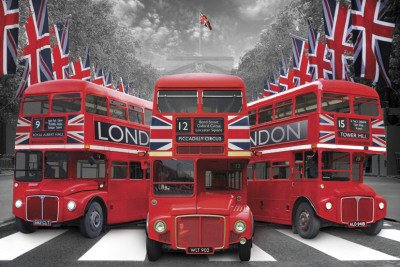 London Palace Buses Art Print Poster - 24x36