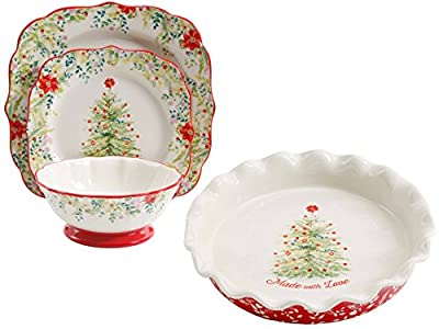 The Pioneer Woman Holiday Cheer Ceramic 12-Piece Dinnerware Set The Pioneer Woman Holiday Cheer 9-Inch Ruffle-Top Pie Plate, Bundle