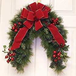 Grande Red Velvet Crescent Door Wreath /Holiday Mailbox Swag