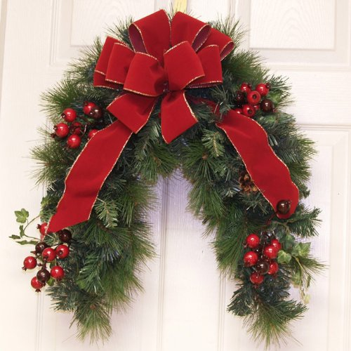Grande Red Velvet Crescent Door Wreath /Holiday Mailbox Swag