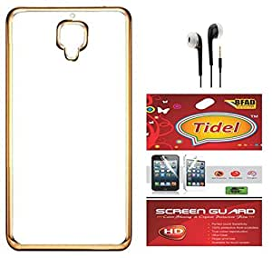 Tidel Meephone Soft Flexible TPU Back Cover for One Plus 3 - Gold With Screen Guard & 3.5mm Handsfree Earphone