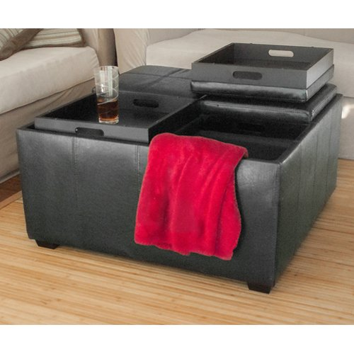 Footstool Coffee Table Tray: Leather Ottoman With 4 Tray Tops Storage Bench Coffee