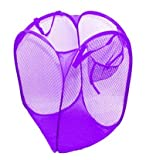 AndAlso Two Purple BIG Nylon Mesh Foldable Laundry Washing Clothes Basket Bag