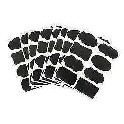 Yueton 80pcs Chalkboard Blackboard Chalk Board Stickers DIY Reusable Custom Self-Adhesive Stickers for Kitchen, Pantry, Jars