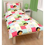 Single Bed Duvet / Quilt Cover Girls Dora The Explorer BUTTONS CL Reversible Duvet/Quilt Bedding Set