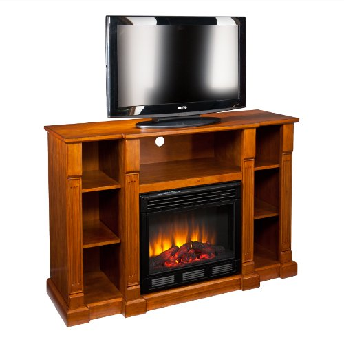SEI AMZ7839E Kendall Electric Media Fireplace, Glazed Pine