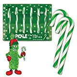 Six Pickle Flavored Candy Canes Christmas Xmas Cane Green White Funny Boxed