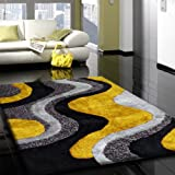 """Authentic Shaggy ~7'.6"""" ft. x 10'.3"""" ft. Living Room Area Rug, Grey with Yellow, Hand-tufted, on Sale!"""
