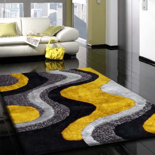 RUG ADDICTION EXACT SIZE ~5' ft. x 7' ft. Indoor Plush Bedroom Area Rug In Color Grey and yellow