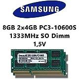 Samsung 8GB (2x 4GB) Dual-Channel Kit DDR3 1333MHz (PC3 10600S) SO Dimm Notebook Laptop Arbeitsspeicher RAM Memory