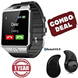 #7: Captcha Bluetooth Smart Watch Phone With Camera, TF Card and Sim Card Support with all Smartphones (Silver)