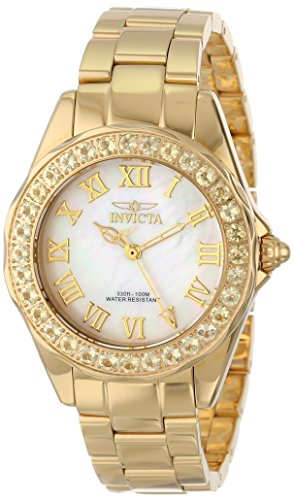 Invicta Women's 14155 Angel White Mother-Of-Pearl Dial 18k Gold Ion-Plated Stainless Steel Watch