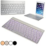 Cooper Cases(TM) Aurora Apple iPad 1/2/3/4, Air/Air 2, Mini/Mini 2/Mini 3 Wireless Bluetooth Keyboard in Silver (Android/Windows/iOS Compatible; Built-in English QWERTY Keyboard w/ 78 Laptop-Style Keys; Bluetooth 3.0 Connectivity; Backlighting Feature in