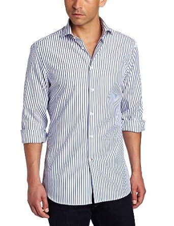 J.Lindeberg Men's Corkz 60S Blues Dress Shirt, Royal Blue, 40/16