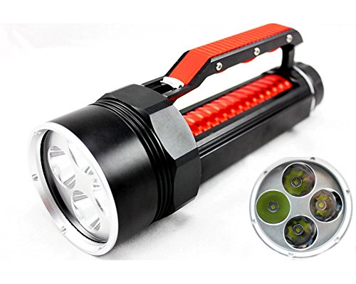 Welltop® 4 X Cree Xm-L T6 Led Super Bright 80M Underwater 5000 Lumens Scuba Diving Flashlight Underwater Waterproof Torch Submarine Light Lamp Torch 26650 Battery Powered Dive Lamp For Diving, Camping