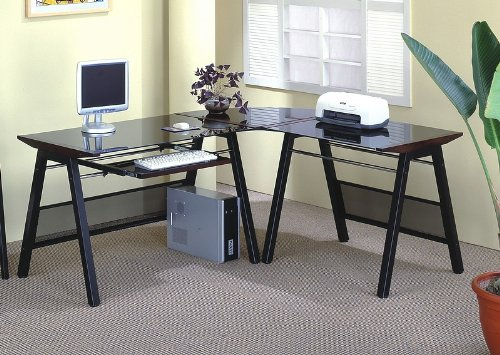 Buy Low Price Comfortable L-Shaped Contemporary Dark Color Home Office Computer Desk (B001HFDAT0)