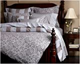 Pinzon Fleur Jacquard Egyptian Cotton Sateen King Duvet Cover, French Blue/Chocolate