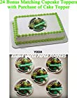 YODA STAR WARS GREEN JEDI MASTER 24 BONUS CUPCAKE TOPPERS with purchase of 1/4 Sheet Cake Topper Edible Image Picture Frosting Sheet Cake Topper