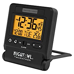MARATHON CL030036BK Atomic Travel Alarm Clock with Auto Night Light Feature in Black, Batteries Included