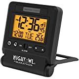 MARATHON CL030036BK Atomic Travel Alarm Clock with 6 Time Zones & Auto Backlight in Black - Batteries Included