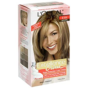 L'Oreal Excellence Triple Protection Color Creme, Medium Blonde Natural 8 (Pack of 3)