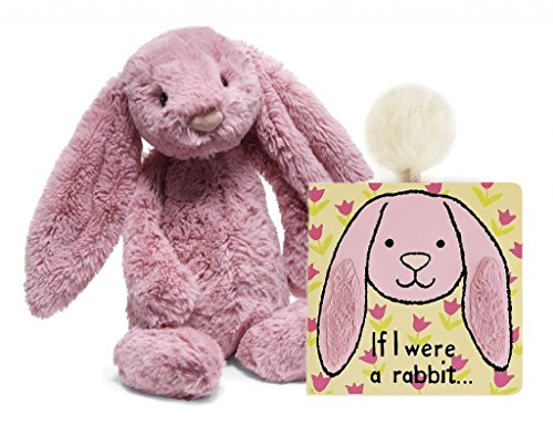 Jellycat Bundle, If I were a Rabbit Baby Touch and Feel Book and Bashful Tulip Bunny Stuffed Animal