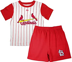 MLB St. Louis Cardinals Toddler Touch 'Em All Short Set By Majestic (WHITE/ ATH R, 2T)