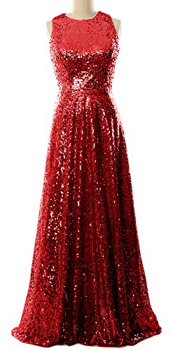 MACloth Women A Line Sequin Long Bridesmaid Dress Evening Formal Party Gown (18w, Red) (80s Fancy Dress Plus Size)