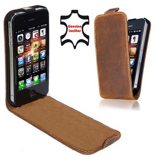 Perfect Case ® Stil Better PREMIUM QUALITÄT Echtleder Flip Handytasche braun für Apple iPhone 4 & 4s Smartphone
