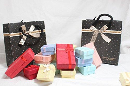大量 小箱 プレゼント かわいい ギフト 小物 入れ 収納 ケア グッズ リボン 付き パッケージ 商品 梱包 ジュエリー ボックス 化粧箱 業務用 にも (e 小 50 個)