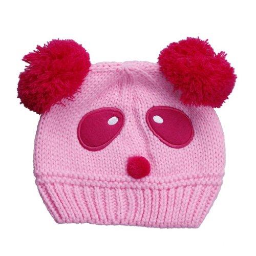 EOZY 新品五ヶ月?3歳赤ちゃんベビー耳あてニット帽子ハットキャップ可愛いパンダデザイン冬保温防寒能力一流キッズ6色選択可 (pink)