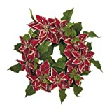 """24"""" Red Royal Poinsettia Flower Christmas Wreath #XPR336-RE"""