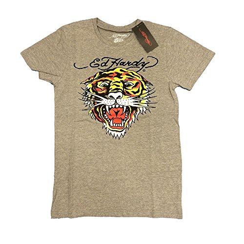 半袖 Tシャツ グレー Edhardy エドハーディー タトゥー タイガーフェイス 虎顔 トラ ED-01 M