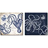 Mariner's Compass and Map Indigo and Grey Octopi Coastal Art; Two 12x12in Prints