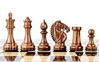 "House of Chess - Golden Rosewood/Boxwood Chess Pieces Rio Staunton 4.0"" (102 mm) 2 Extra Queens - Triple Weighted"