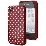 iHarbort Silikon Tasche Schutz Hülle Schutzhülle Etui für Apple iPhone 4S/ 4 mit klein weiß Punkte rot